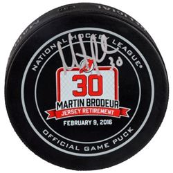 Martin Brodeur Signed Devils Goalie Retirement Logo Hockey Puck (Fanatics Hologram)