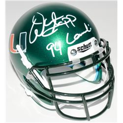 "Warren Sapp Signed Miami Hurricanes Mini Helmet Inscribed ""94 Lombardi"" (JSA COA)"