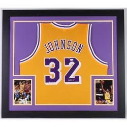 Magic Johnson Signed Lakers 31x35 Custom Framed Jersey (JSA COA)