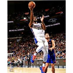 "Joel Embiid Signed 76ers ""Lay Up"" 16x20 Photo (Fanatics Hologram)"