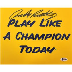 "Rudy Ruettiger Signed ""Play Like a  Champion Today"" 8x10 Photo (Beckett COA)"