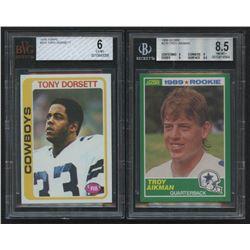 Lot of (2) Beckett Graded Dallas Cowboys Rookie Cards with 1978 Topps #315 Tony Dorsett RC (BVG 6)