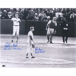 """Carlton Fisk  Pat Darcy Signed """"World Series"""" 16x20 Photo Inscribed """"Stay Fair - Stay Fair!""""  """"Go Fo"""