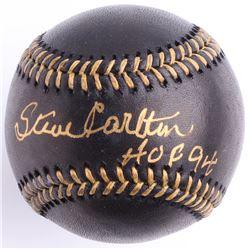 """Steve Carlton Signed Black Leather OML Baseball Inscribed """"HOF 94"""" (JSA COA)"""