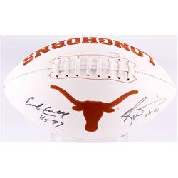 """Earl Campbell  Ricky Williams Signed Texas Longhorns Logo Football Inscribed """"HT 77""""  """"HT 98"""" (JSA C"""