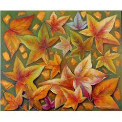 "Adriana Constanza Signed ""Autumn"" 23x28 Original Oil Painting on Canvas (PA LOA)"