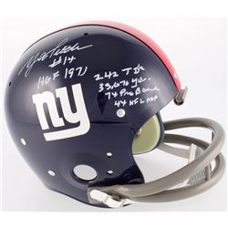 Y.A. Tittle Signed New York Giants Throwback TK Full-Size Suspension Helmet With (5) Stat Inscriptio
