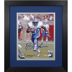 Barry Sanders Signed Lions 13.75x15.5  Custom Framed Photo Display (PSA COA)