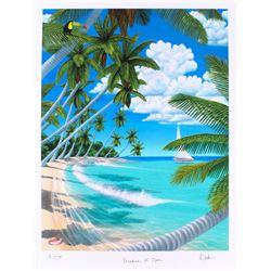 "Dan Mackin - ""Paradise at Noon"" Signed Limited Edition 19x25 Fine Art Giclee #/275 (Mackin COA  PA L"
