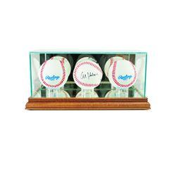 Premium Triple Baseball Display Case with Mirrored Walnut Wood Base  Mirrored Back