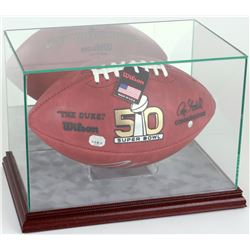Premium Rectangle Football Display Case with Mirrored Back, Grey Suede  Cherry Wood Base
