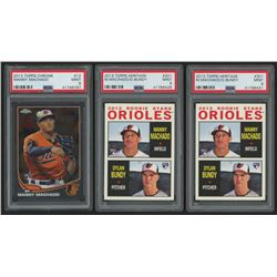 Lot of (3) PSA Graded 9 Manny Machado Baseball Cards with (1) 2013 Topps Chrome #12 RC  (2) 2013 Top