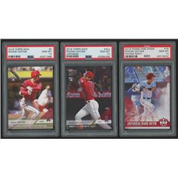 Lot of (3) PSA Graded 10 Shohei Ohtani Baseball Cards with 2018 Topps Now #5 / 4830*, 2018 Topps Now