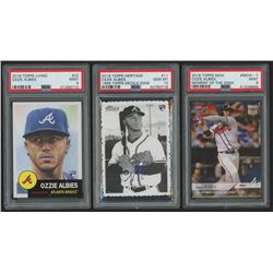 Lot of (3) PSA Graded Ozzie Albies Rookie Cards with 2018 Topps Now Moment of the Week #MOW7 / 1276*