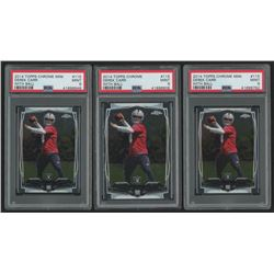 Lot of (3) PSA Graded 9 Derek Carr Rookie Cards with (1) 2014 Topps Chrome #115A RC  (2) 2014 Topps