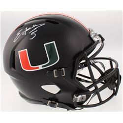 Edgerrin James Signed Miami Hurricanes Black Full-Size Speed Helmet (Radtke COA)