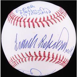 Rick Dempsey, Brooks Robinson  Frank Robinson Signed OML Baseball with (3) Inscription (JSA COA)