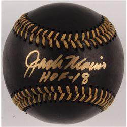 """Jack Morris Signed Black Leather OML Baseball Inscribed """"HOF - 18"""" (Beckett COA)"""