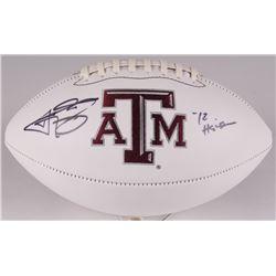 "Johnny Manziel Signed Texas AM Aggies Logo Football Inscribed ""12 Heisman"" (JSA COA)"