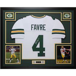Brett Favre Signed Packers 35x43 Custom Framed Jersey (Favre Hologram)