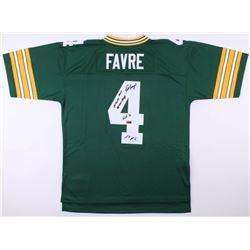 "Brett Favre Signed Green Bay Packers Mitchell  Ness Jersey Inscribed ""95, 96, 97 MVP"", ""HOF 16"", ""La"