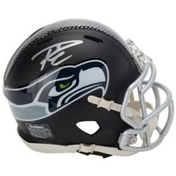 Russell Wilson Signed Seattle Seahawks Custom Matte Black Mini Speed Helmet (Fanatics Hologram)