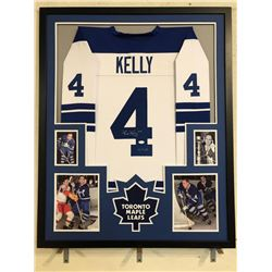 "Red Kelly Signed Toronto Maple Leafs 34x42 Custom Framed Jersey Inscribed ""HOF 69"" (JSA COA)"