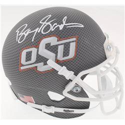 Barry Sanders Signed Oklahoma State Cowboys Custom Matte Grey Mini Helmet (JSA COA)