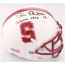 "Jim Plunkett Signed Stanford Cardinal Mini Helmet Inscribed ""Heisman 1970"" (JSA COA)"