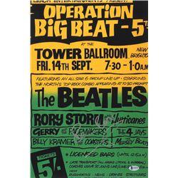 "Pete Best Signed ""Operation Big Beat 5"" 12x18 Concert Poster Photo (Beckett COA)"