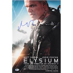 Matt Damon Signed Elysium 12x18 Movie Poster Photo (Beckett COA)