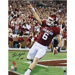 """Baker Mayfield Signed Oklahoma Sooners 16x20 Photo Inscribed """"'17 HT"""" (Beckett COA)"""
