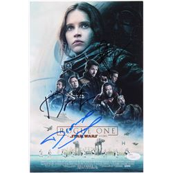 "Felicity Jones, Diego Luna  Donnie Yen Signed ""Rogue One: A Star Wars Story"" 8x12 Photo (JSA COA)"