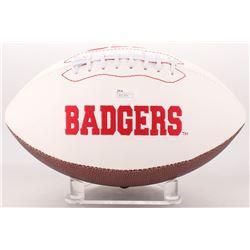 Ron Dayne  Barry Alvarez Signed Wisconsin Badgers Logo Football (JSA COA)