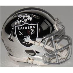 "Ray Guy Signed Oakland Raiders Chrome Speed Mini Helmet Inscribed ""HOF -14"" (Radtke COA)"