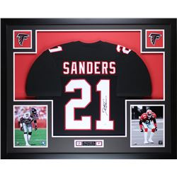 "Deion Sanders Signed Falcons 35"" x 43"" Custom Framed Jersey (JSA COA)"