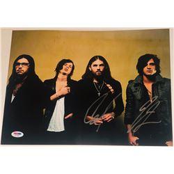 """Caleb Followill  Jared Followill Signed """"Kings of Leon"""" 11x14 Photo (PSA COA)"""