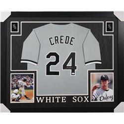 Joe Crede Signed Chicago White Sox 35x43 Custom Framed Jersey (JSA COA)