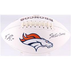"""Emmanuel Sanders Signed Denver Broncos Logo Football Inscribed """"SB 50 Champs"""" (JSA COA)"""