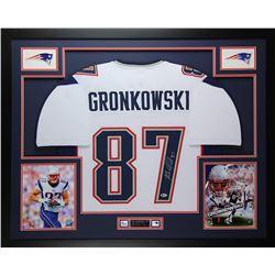 "Rob Gronkowski Signed Patriots 35"" x 43"" Custom Framed Jersey (Beckett COA)"