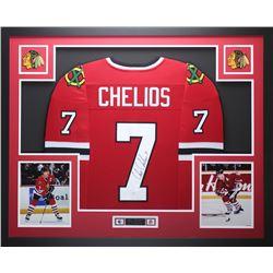 """Chris Chelios Signed Blackhawks 35"""" x 43"""" Custom Framed Jersey (JSA COA)"""
