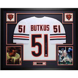 Dick Butkus Signed Chicago Bears 35x43 Custom Framed Jersey Display (JSA COA)