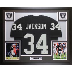 Bo Jackson Signed Oakland Raiders 35x43 Custom Framed Jersey (Beckett COA)