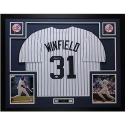 Dave Winfield Signed New York Yankees 35x43 Custom Framed Jersey (JSA COA)