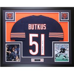 "Dick Butkus Signed Chicago Bears 35x43 Custom Framed Jersey Inscribed ""HOF 79"" (JSA COA)"