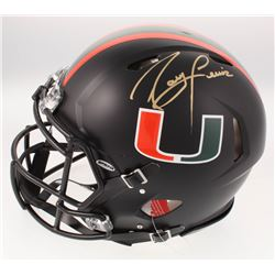 Ray Lewis Signed Miami Hurricanes Full-Size Custom Matte Black Authentic On-Field Speed Helmet (JSA