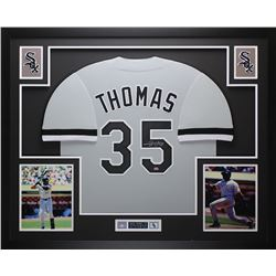 Frank Thomas Signed Chicago White Sox 35x43 Custom Framed Jersey Display (Leaf COA)