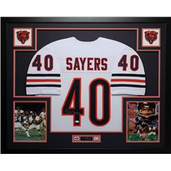 Gale Sayers Signed Chicago Bears 35x43 Custom Framed Jersey Display (JSA COA)