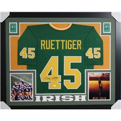 Rudy Ruettiger Signed Notre Dame Fighting Irish 35x43 Custom Framed Jersey (JSA COA)