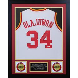 Hakeem Olajuwon Signed Houston Rockets 24x30 Custom Framed Jersey (JSA COA)